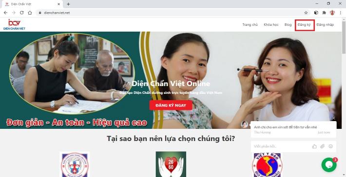 3 bước đăng ký học trên DienChanViet.Net
